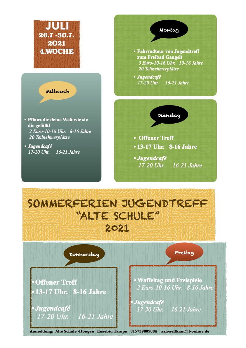 Ferienprogramm Jugendtreff Alte Schule Höngen